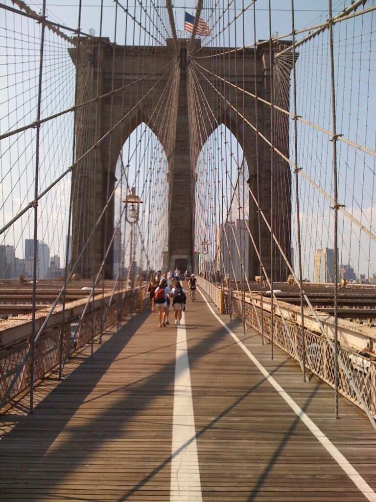 Brooklyn Bridge from partway across, New York City