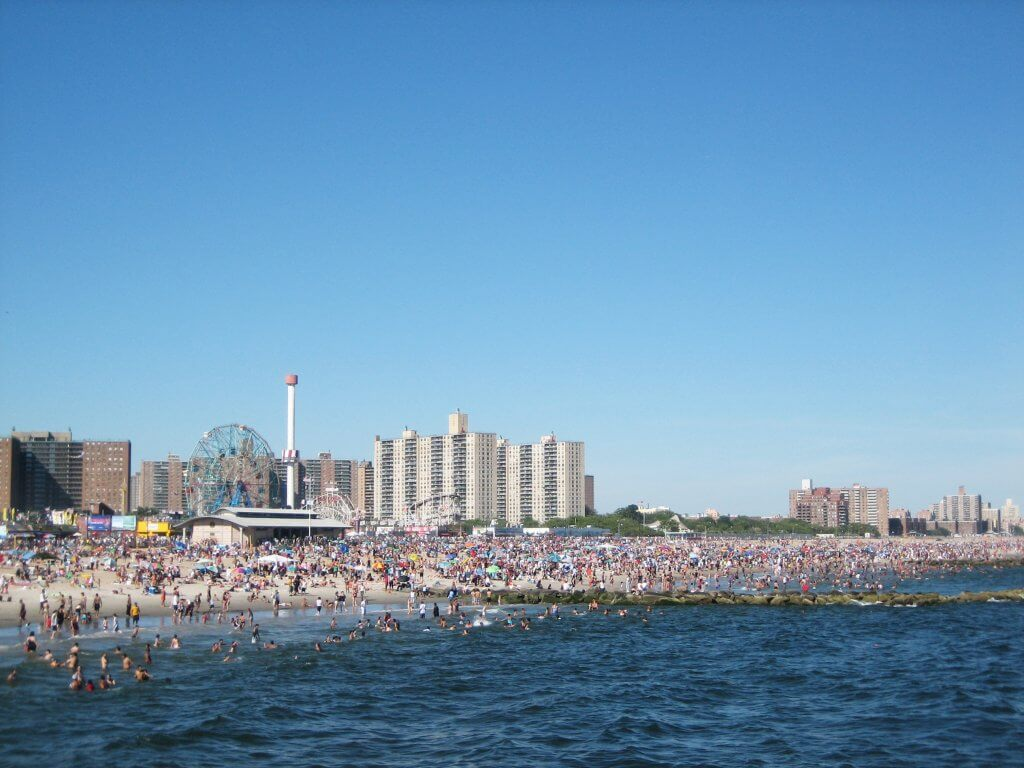 Coney Island beach as seen from the Pier, NYC