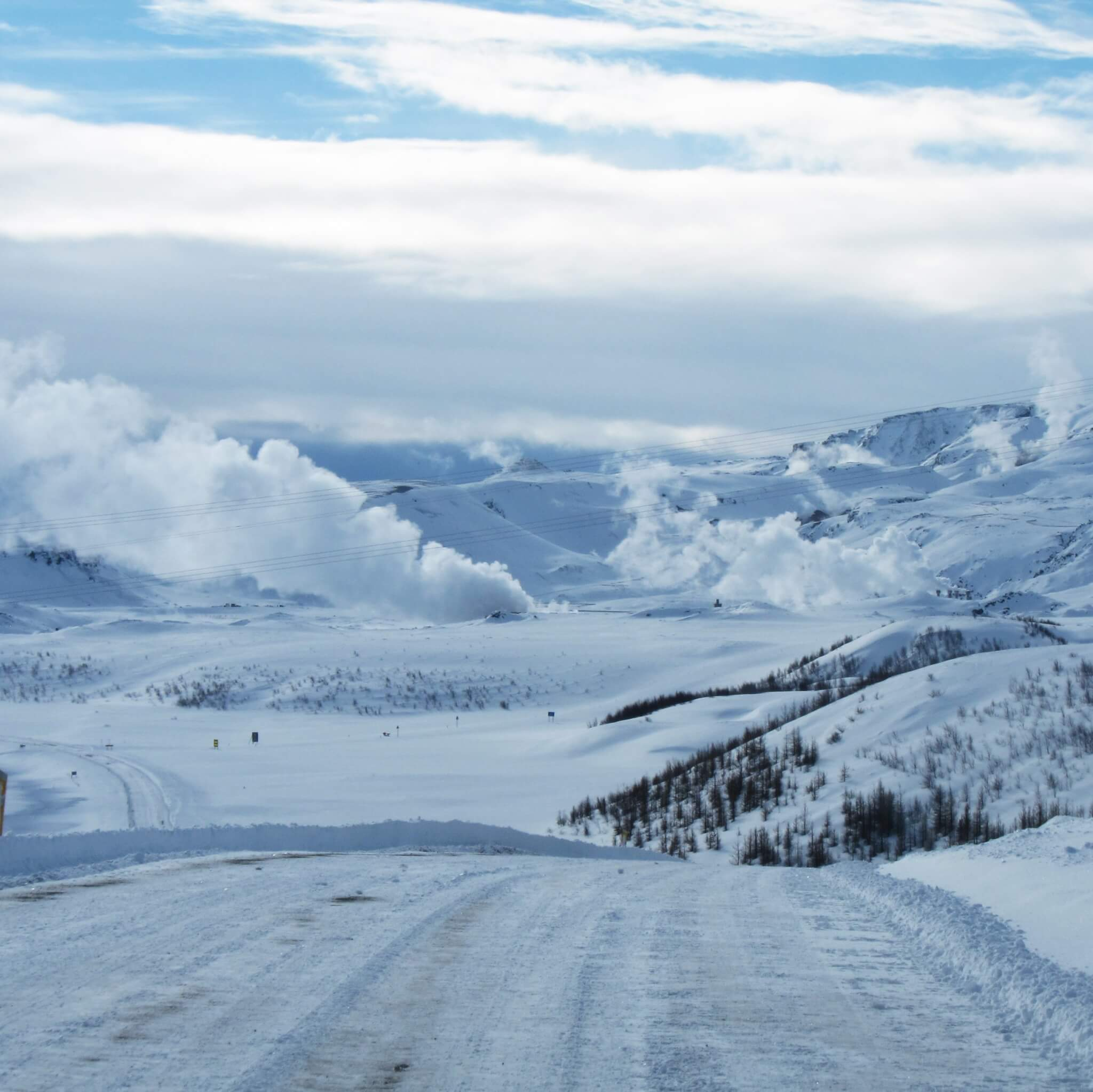 white all around on the road in the interior of Iceland.